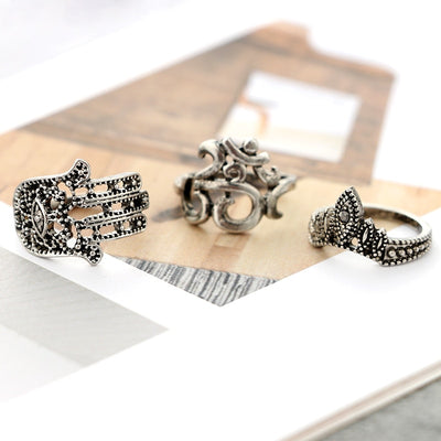 Black Opal Ring Set (10pcs/set)