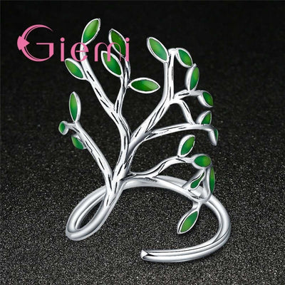 Green Leaves Tree of Life Ring