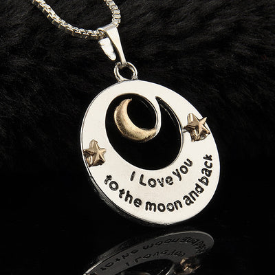 """I Love You To The Moon And Back"" Letters Chain Necklace"