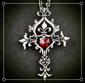 Gothic Vampire Red Cross Necklace