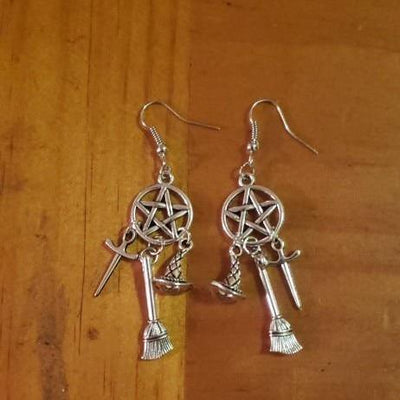 Witch Pentacle Drop Earrings