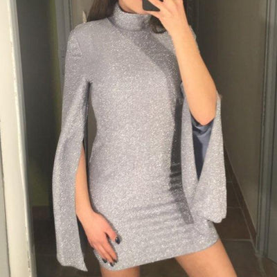 Turtleneck Slit Flare Sleeve Dress
