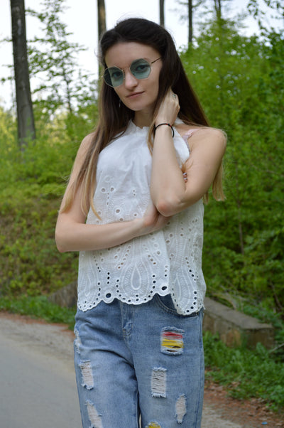 Polka Dot Sleeveless Blouse