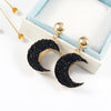 Unique Black Pink Crescent Moon Earrings