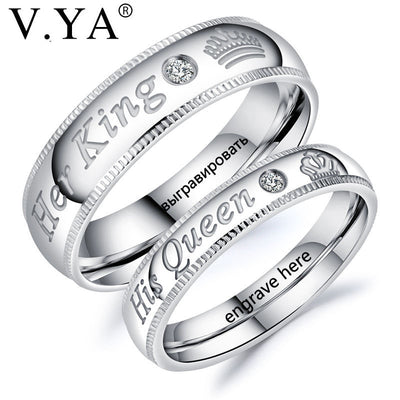 Silver King & Queen Couple Ring