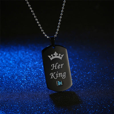 Crystal Crown Pendent Couple Necklaces
