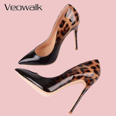 Leopard Patent Leather High Heels