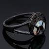 Vintage White Opal Moon Black Ring