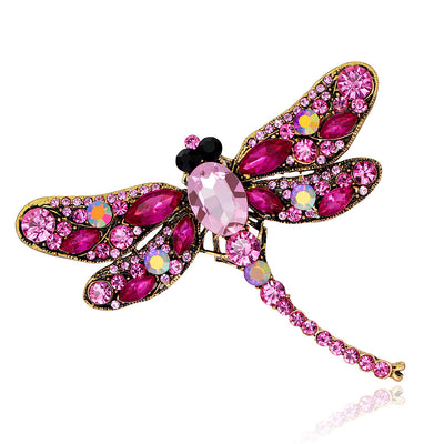 6 Colors Crystal Rhinestone Dragonfly Brooch Pin