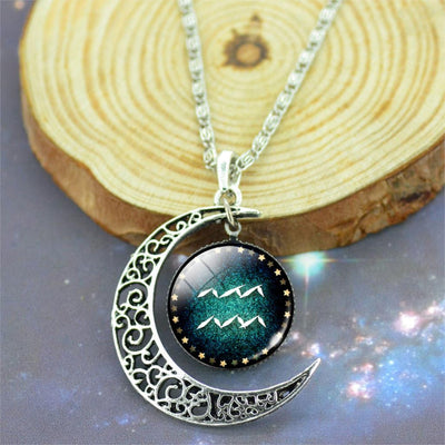 Zodiac With Crescent Moon Pendant Necklace
