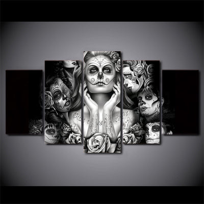 5pcs Dead Skull Lady Canvas Art