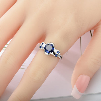 Blue CZ Skull Crystal Ring