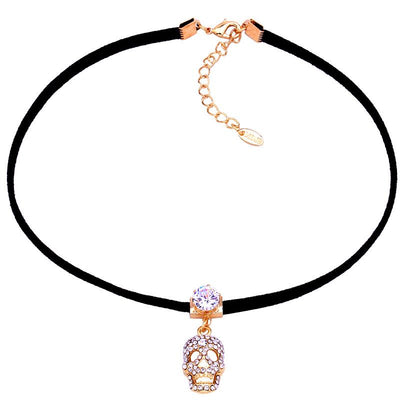 Zircon Skull Leather Choker
