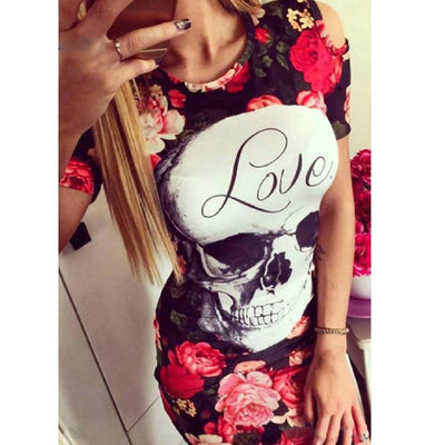 Love Skull Rose Print Dress