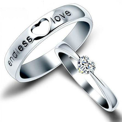 Heart-Shaped Couples Silver Ring