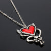 Gothic Devil Red Heart Necklace