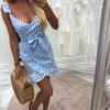 Vintage V Neck Plaid Dress