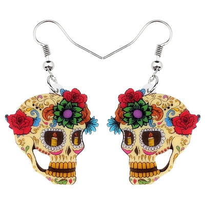 Free - Acrylic Floral Skull Earrings