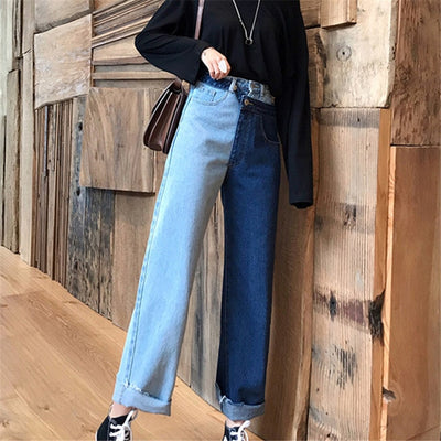 Two Tone Denim Crop Jeans