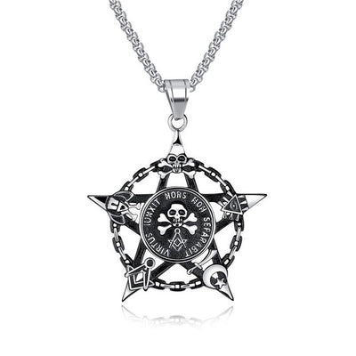 Engraved Stars Skull Necklace