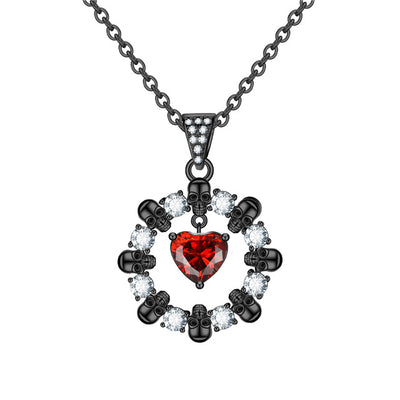 Skull Heads & Heart Round Necklace