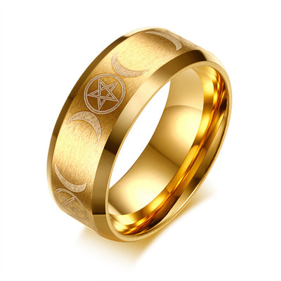 Luxury Stainless Steel Pentacle Ring