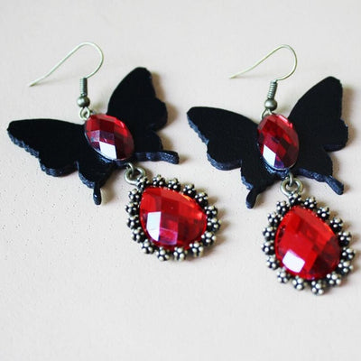 Crystal Black Butterfly Earrings