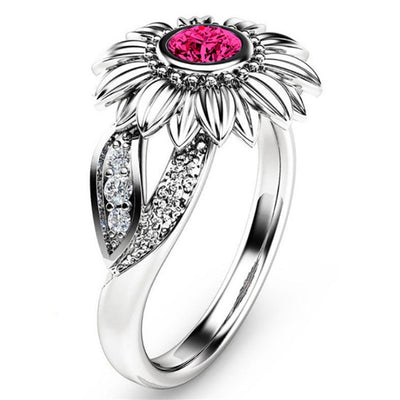 CZ Stone Crystal Sunflower Ring