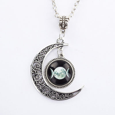 Triple Goddess Hollow Moon Pendant Necklace