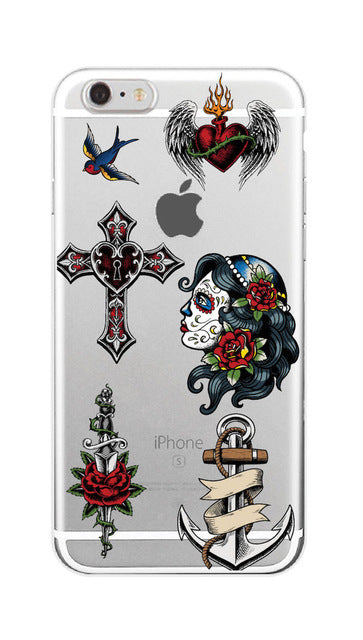 Tattoo Rose Skull Lady iPhone Samsung Case
