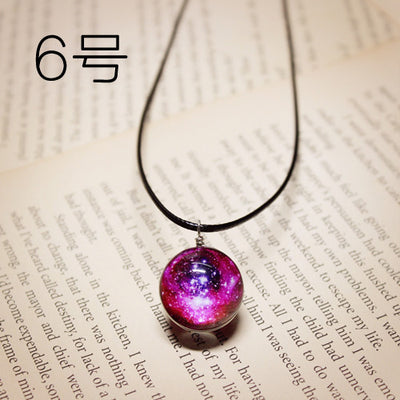 Planet Stars Short Glass Galaxy Pattern Necklace