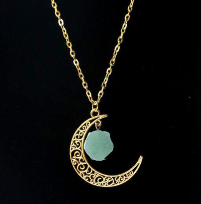 Moon With Natural Stone Necklace