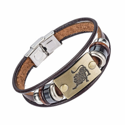 12 Zodiac Signs Leather Bracelet