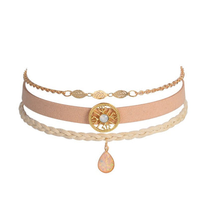 Bohemian Opal Stone Choker Necklace Set