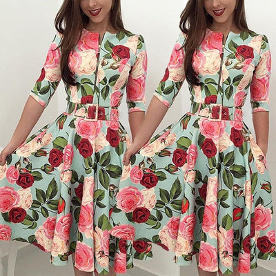 Retro Floral Party Dress
