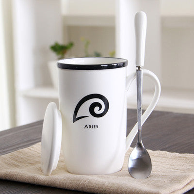 Zodiac Design White Ceramic Mug Spoon Lid Set