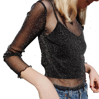 Glitter Long Sleeve Mesh Top