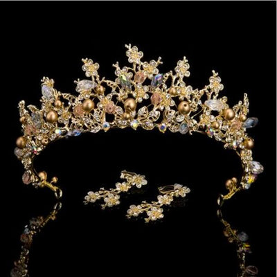 Pink Gold Pearl Bridal Crown
