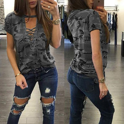 Fashion Camouflage Loose T-shirt