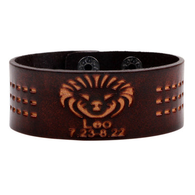 Zodiac Punk Leather Bracelet