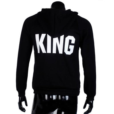 Black Queen King Letter Print Couple Hoodies