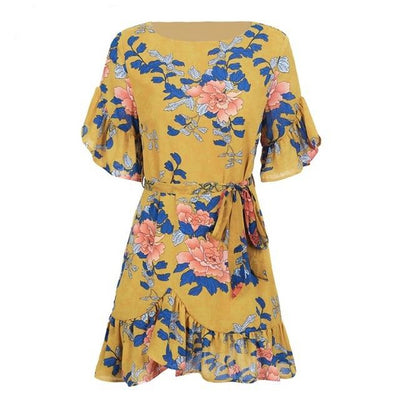 Floral Ruffle Sleeve Dress