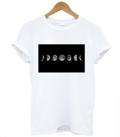 Full Moon Print White T shirt