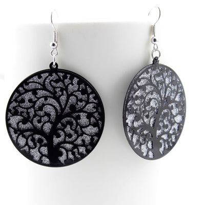Hallow Round Tree of Life Earrings