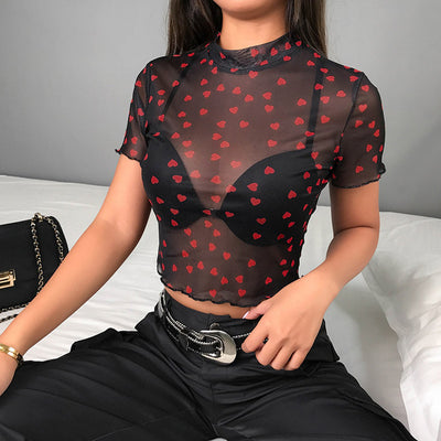 Red Heart Mesh Top