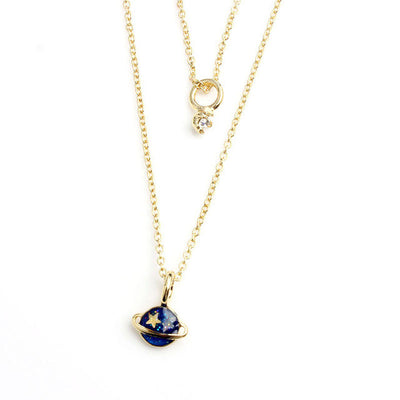 Blue Moon Planet Pendant Necklace Set