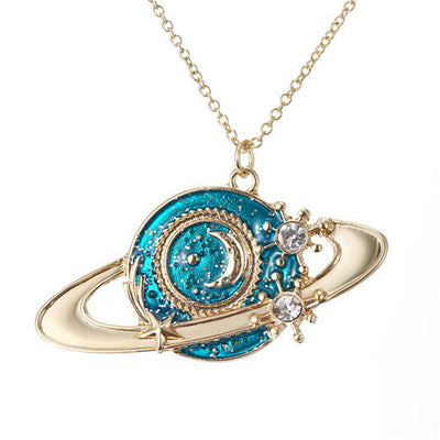 Enamel Planet Silver Plated Necklace