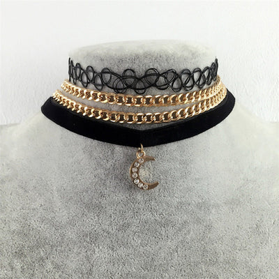 3pcs Vintage Velvet Moon Choker Necklaces