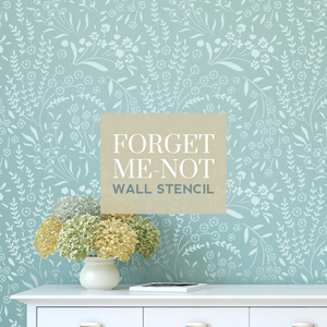 How to stencil a Forget-me-not feature wall