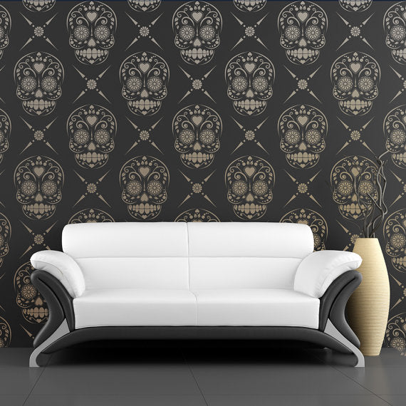 candy skull damask wall stencil - stencil.co.uk
